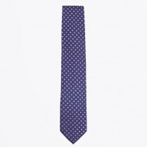 - The Navy Silk Woven Contrast Tail Tie