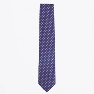 | The Navy Silk Woven Contrat Tail Tie