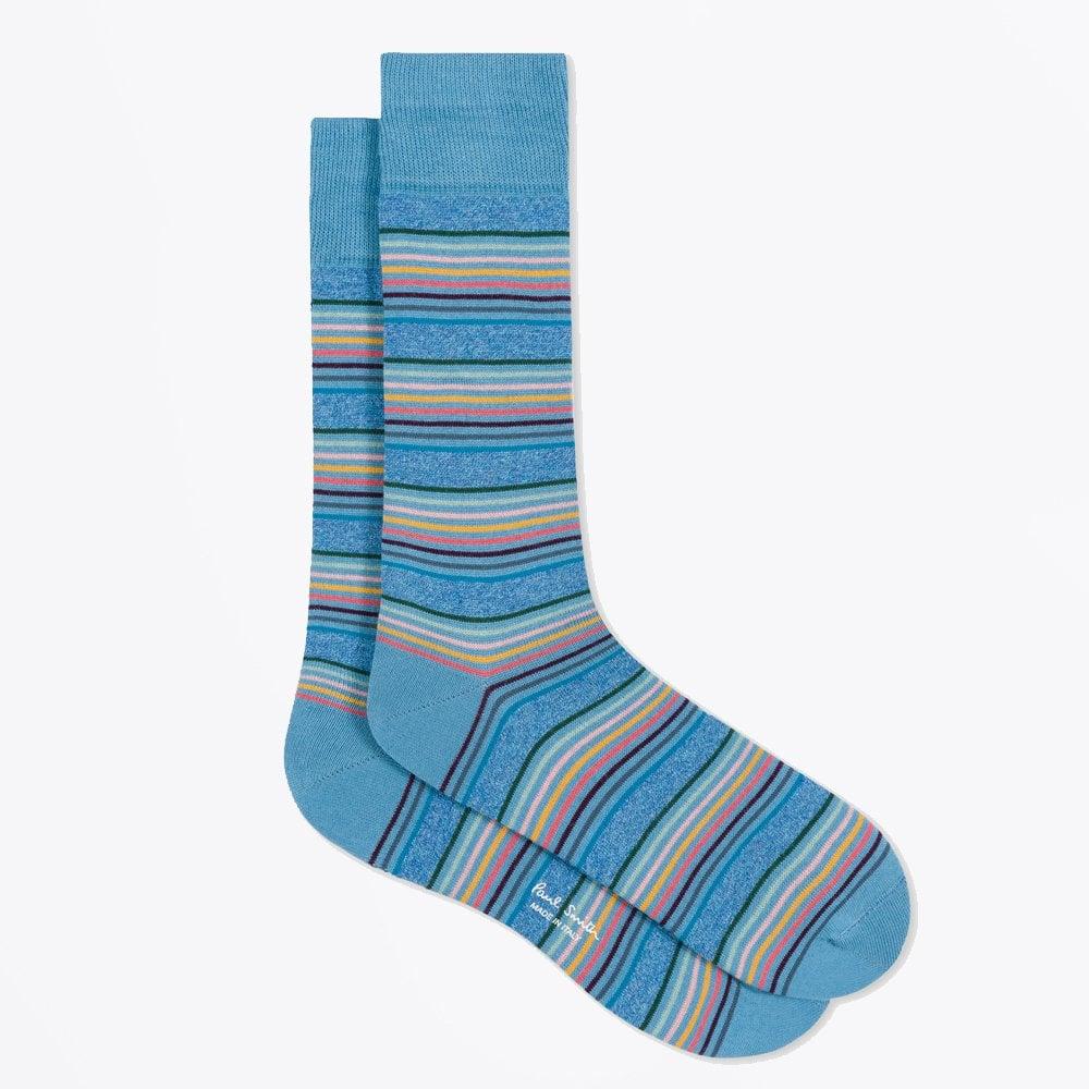 9772942037 PS Paul Smith - Artist Stripe Sock - Turquoise- Mr & Mrs Stitch