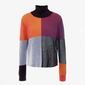 - Colour Block Rib Roll Neck - Multi