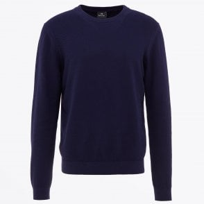 - Crew Neck Knitted Sweatshirt - Navy