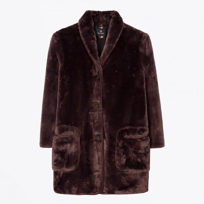 PS Paul Smith - Faux Fur Shawl Collar Coat - Brown