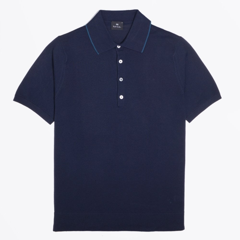 PS Paul Smith - Knitted Cotton Polo Shirt - Navy - Mr   Mrs Stitch ac5957773577