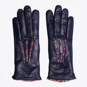 - Leather Swirl Piping Gloves - Navy