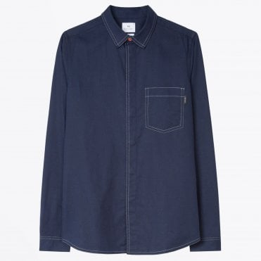 - Slim-Fit Contrast Shirt - Navy