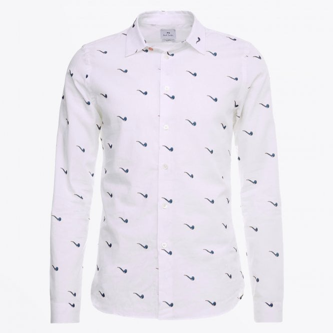 PS Paul Smith - Slim-fit Printed Pipe Shirt - White