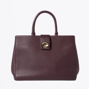 - T-Bar Leather Tote Bag - Bordeaux