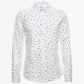 - Tailored Spot Print Shirt - White