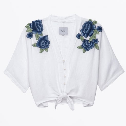 Rails - Thea Blue Rose Embroidered Top - White