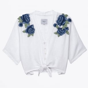 - Thea Blue Rose Embroidered Top - White