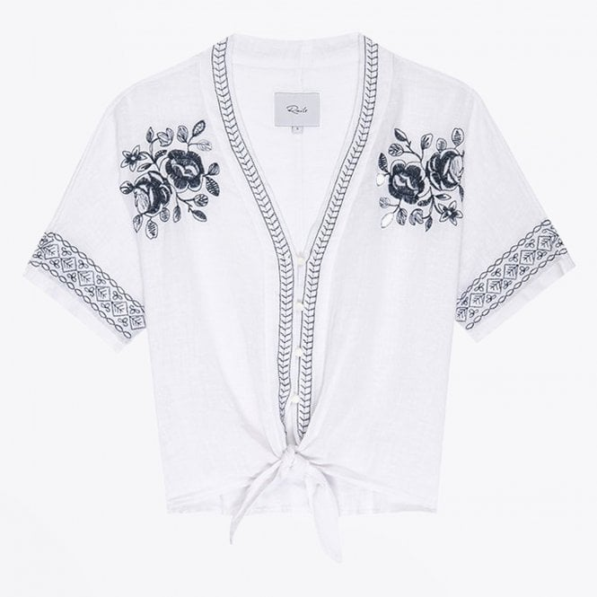 Rails - Thea Floral Embroidery Top - White