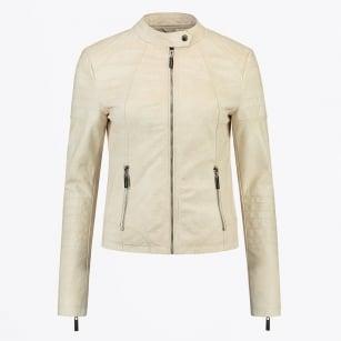 | Arley Faux Leather Snake Jacket - Beige
