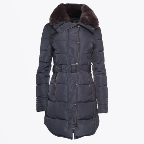 Rino & Pelle - Blush Faux Fur Collar Puffa Coat - Navy