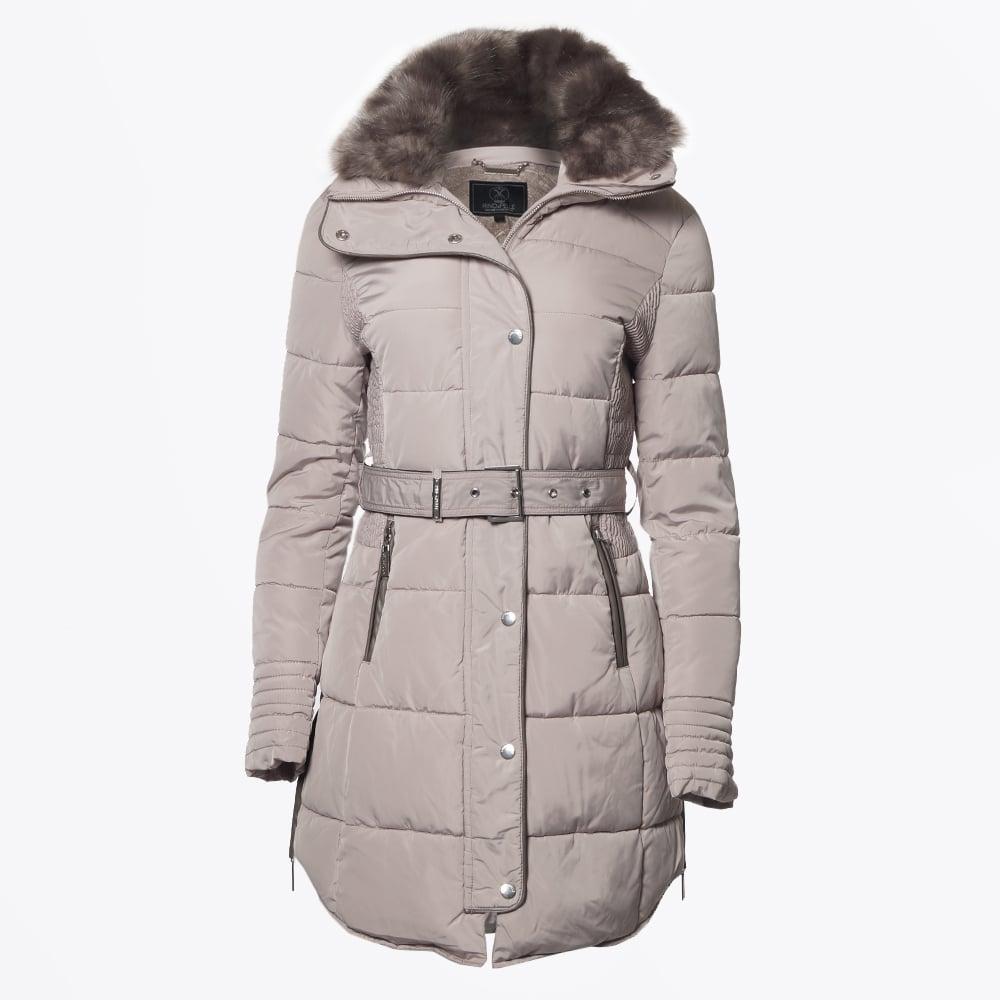 Blush Long Puffa Faux Fur Coat