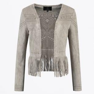 | Gracia - Faux Suede Lasercut Jacket - Silver Grey