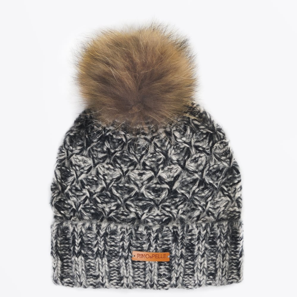 3685040751ace Hatchun Knit Hat with Raccoon Fur - Black