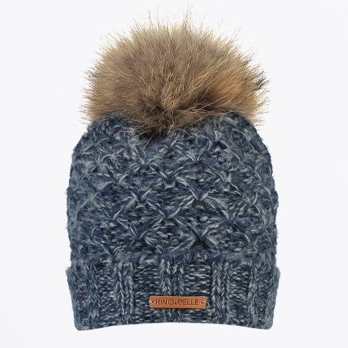4690f38ef75fc Rino   Pelle - Hatchun Knit Hat with Raccoon Hair - Navy