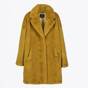 - Joela Faux Fur Coat - Mustard