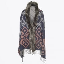 - Leiva Reversible Faux Fur Shawl - Multi Green
