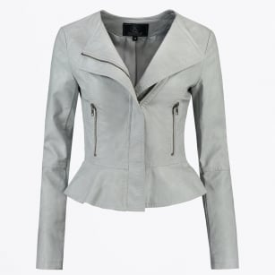 | Makoa - Faux Leather Frill Jacket - Grey