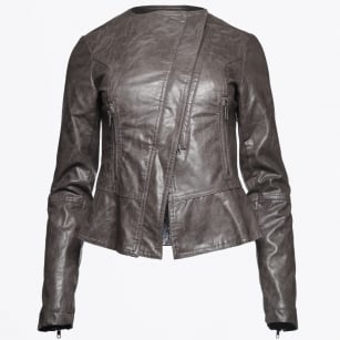 | Makoa - Faux Leather Peplum Jacket - Smokin