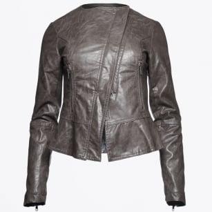 | Makoa - Faux Leather Peplum Jacket - Smokin