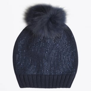 - Minde Faux Fur Embellished Pom Pom Hat - Navy Blue