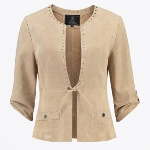 | Mirena Faux Suede Studded Jacket - Sand