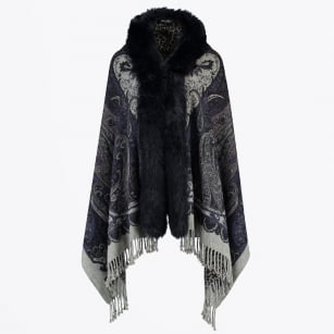 - Scarf Zafi Cape with Faux Fur - Blue