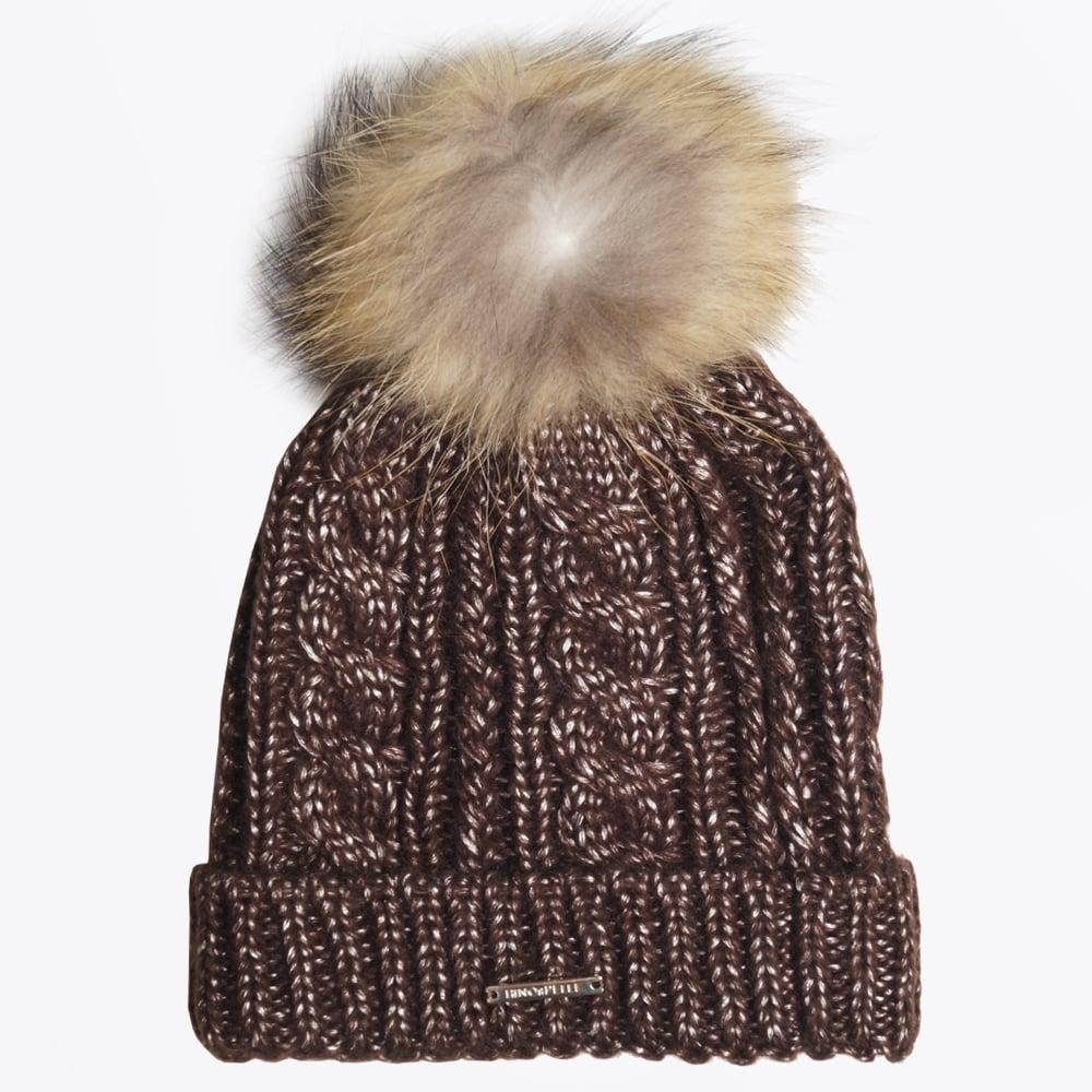 8446b9bcaa9 Rino   Pelle - Seta Brown Cable Knit Fur Pom Pom Hat - Mr   Mrs Stitch