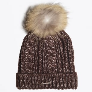 - Seta Cable Knit Fur Pom Pom Hat - Brown