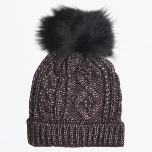 - Seta Fur Pom Pom Cable Knit Hat - Anthracite
