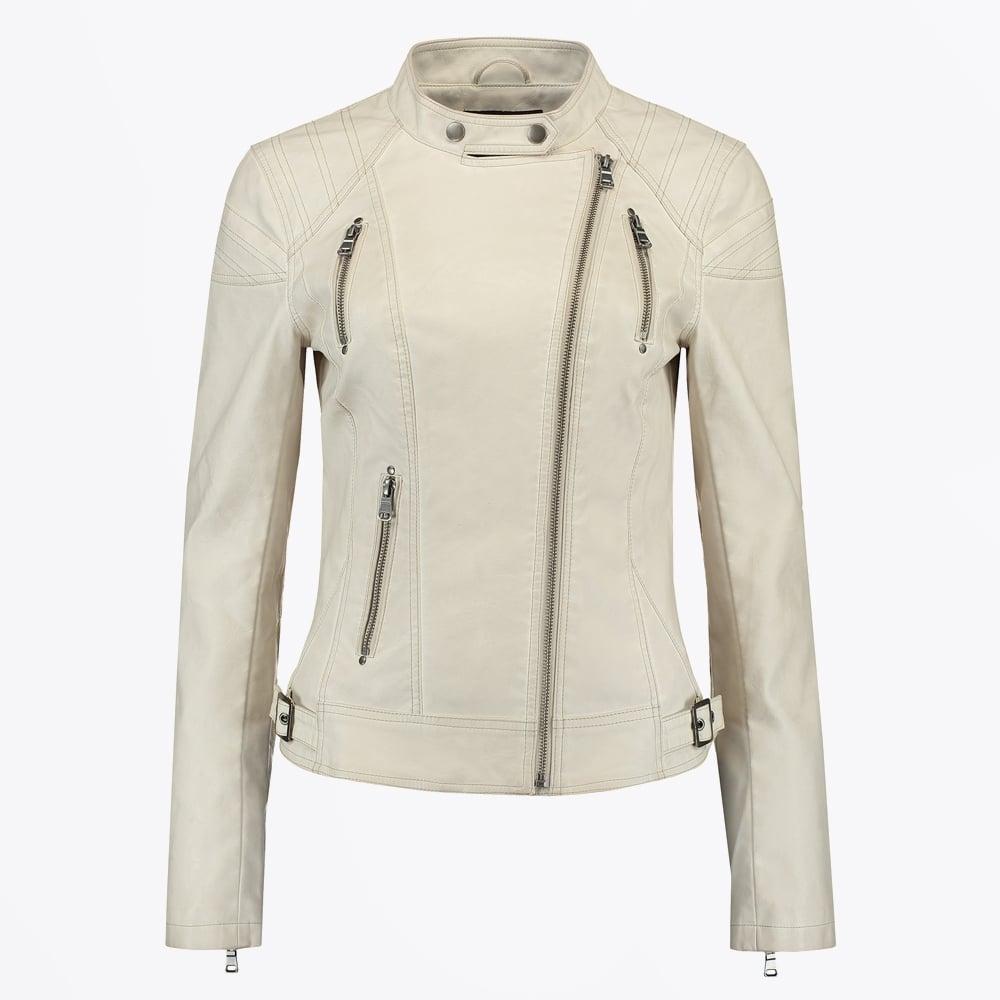 3bc4d99e4 Rino & Pelle - Ulla Zip Front Faux leather Jacket - Beige