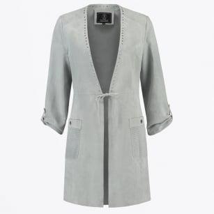 | Wenny - Long Suede Studded Jacket - Light Grey