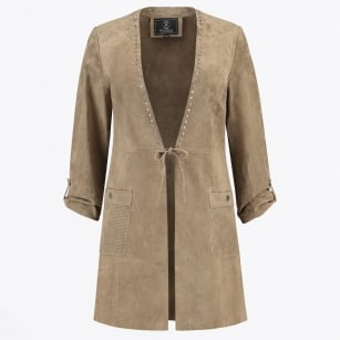| Wenny - Long Suede Studded Jacket - Sand