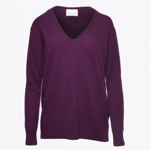 - Boston V Neck Knit - Potent Purple