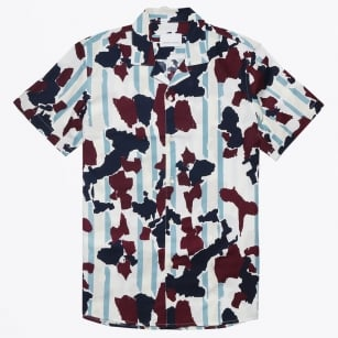 - Einar Cuban Collar Camo Shirt - Wine Decor