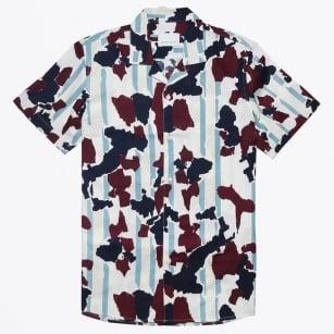 | Einar Cuban Collar Camo Shirt - Wine Decor