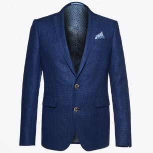| Hopsack Delave Wool & Linen Mix Blazer - Blue