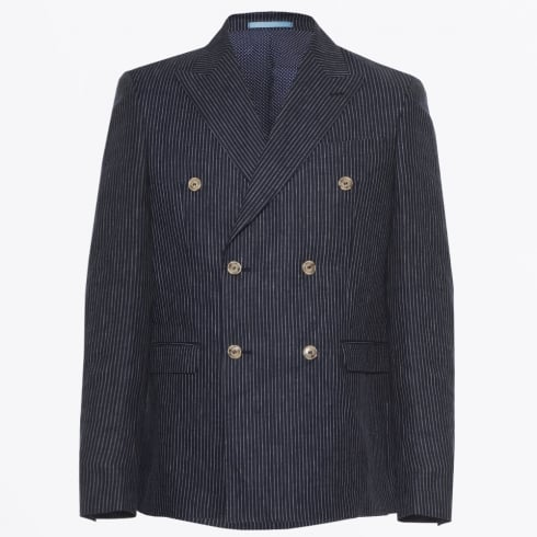 Sand - Linen Double Breasted Blazer - Navy
