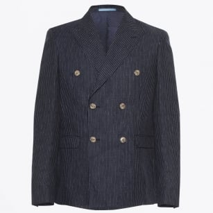 - Linen Double Breasted Blazer - Navy