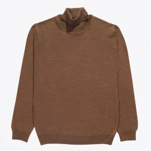 | Merino Polo Neck - Teak