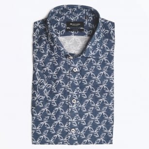 - Palm Print Shirt Sleeve Shirt - Navy