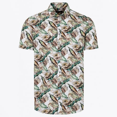 Sand - Palm Print Short Sleeve Shirt - Brown