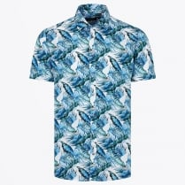 - Palm Print Short Sleeved Shirt - Blue