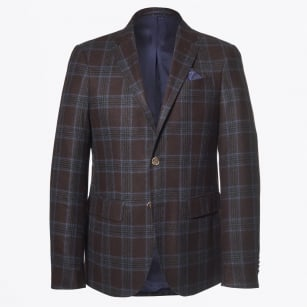 | Saron Check Wool Blazer - Brown
