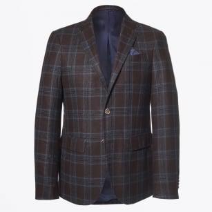 | Saron Check Wool Blazer - Brown