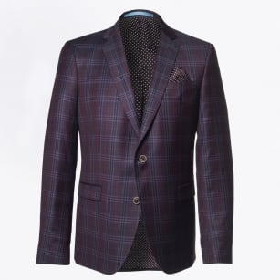 - Sherman Wool Check Blazer - Burgundy