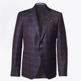 | Sherman Wool Check Blazer - Burgundy