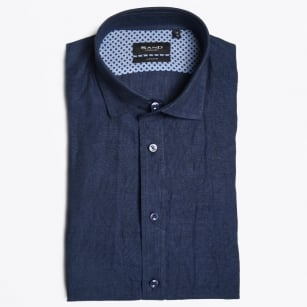 - Short Sleeve Linen Shirt - Navy
